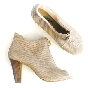 PAUL GREEN NWOT Nude Suede Peep Toe Booties, 8/5.5
